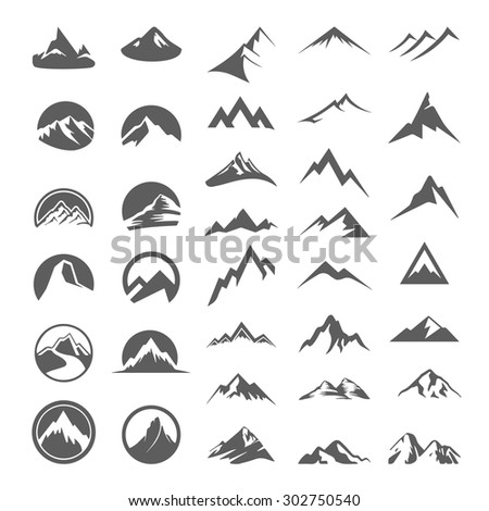 Mountains set - stock vector