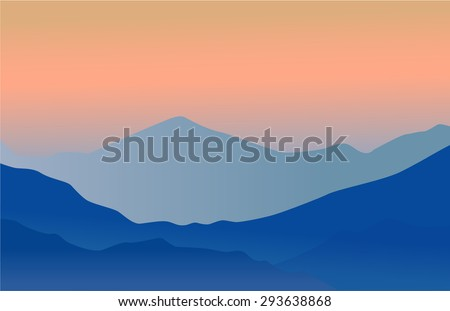 Mountains shiluette. Vectior background for hipster label - stock vector