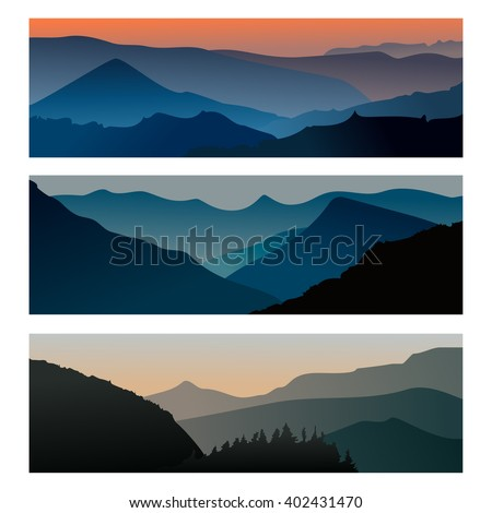 Mountains sunrise and mountains sunset horizontal banner. Travel mountain landscape. Vector illustration eps10 - stock vector