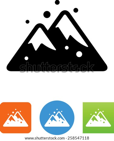 Mountains under snow symbol for download. Vector icons for video, mobile apps, Web sites and print projects.  - stock vector