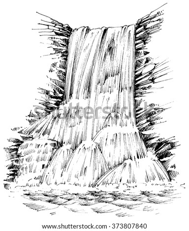 Mountains waterfall graphic illustration - stock vector