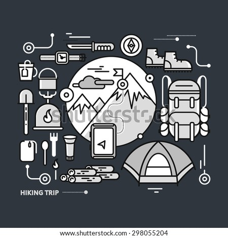 Mountains with snow peaks and tourist equipment. Hiking trip. Mountaineering. Travel. Stroke icons for web design, analytics, graphic design and in flat design on black monochrome color - stock vector