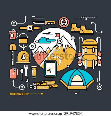 Mountains with snow peaks and tourist equipment. Hiking trip. Mountaineering. Travel. Thin, lines, outline icons for web design, analytics, graphic design and in flat design on black background - stock vector
