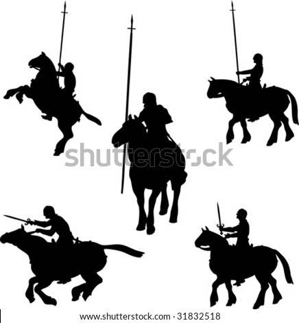 Mounted Knight Silhouettes - stock vector