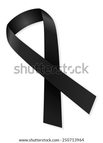 Mourning ribbon on a white background. - stock vector