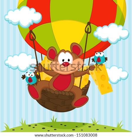 mouse and a bird in a balloon -  vector illustration - stock vector