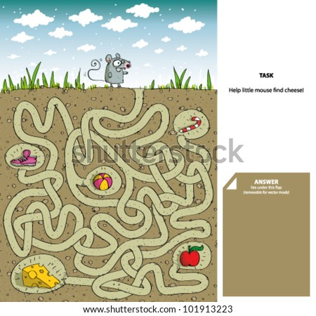 mouse cheese maze game solution stock vector royalty free