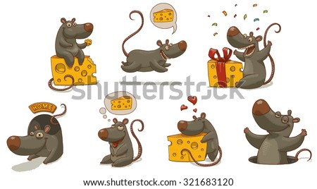 Mouse and cheese set, vector - stock vector