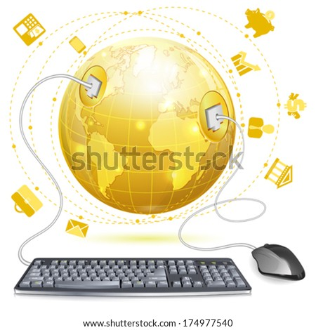 Mouse and Keyboard Connected to Earth - stock vector