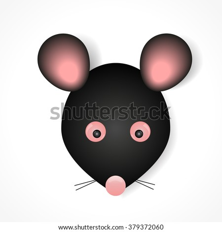 Mouse animal black with pink ears cartoon vector eps 10