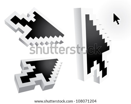 mouse arrow pointers - 3d illustration - stock vector