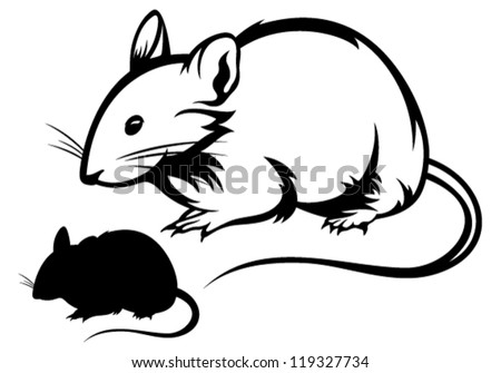 mouse black and white outline and silhouette - stock vector