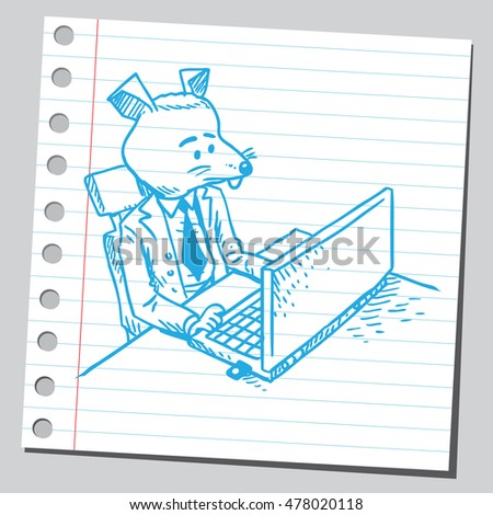 Mouse businessman working on computer