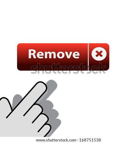 mouse click on the button remove  wants - stock vector