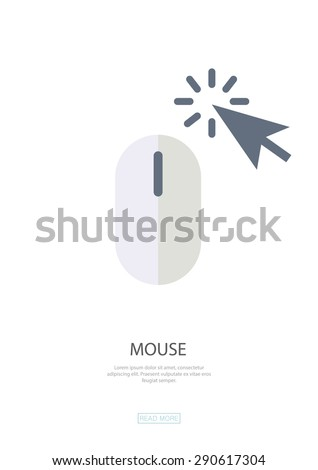 Mouse , click , web surfing. Flat design,web design,infographics ,business, symbol.Be used for data visualization in a web site,information boards,billboards,brochures,flyers,magazines,etc. - stock vector