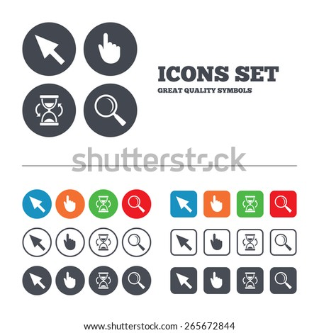 Mouse cursor and hand pointer icons. Hourglass and magnifier glass navigation sign symbols. Web buttons set. Circles and squares templates. Vector - stock vector