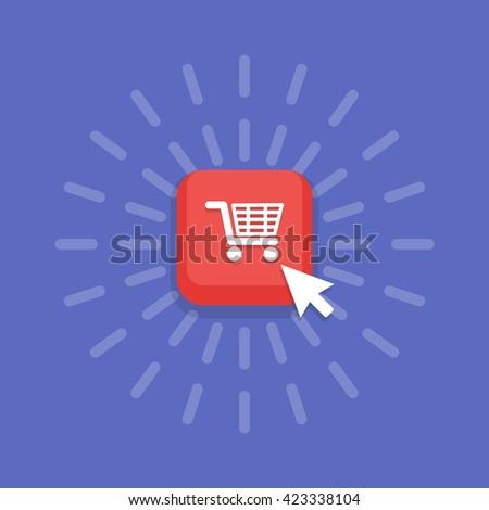 Mouse cursor clicks the buy button. E-commerce - stock vector