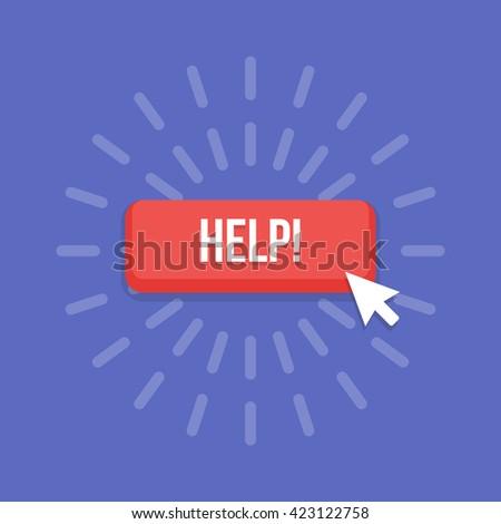 Mouse cursor clicks the help button. - stock vector