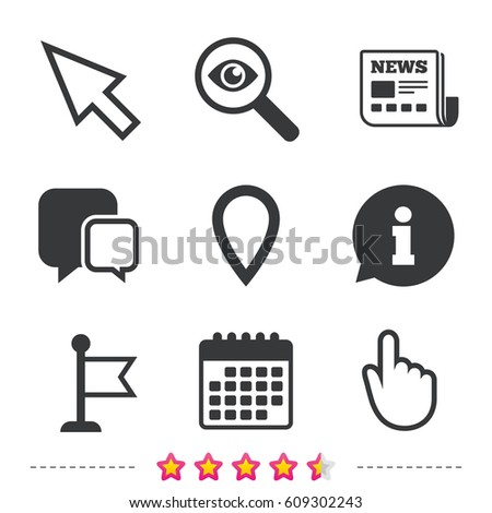 Mouse Cursor Icon Hand Flag Pointer Stock Vector 609302243