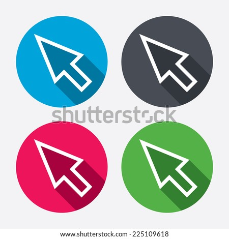 Mouse cursor sign icon. Pointer symbol. Circle buttons with long shadow. 4 icons set. Vector - stock vector