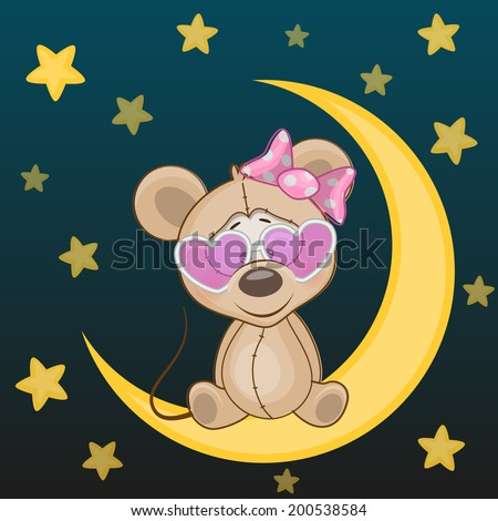 Mouse girl is sitting on the moon - stock vector