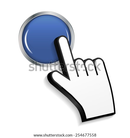 Mouse Hand Cursor on Circle Glossy Button Vector Illustration EPS10 - stock vector