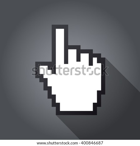 Mouse hand cursor vector illustration, cast shadow. Gray background.