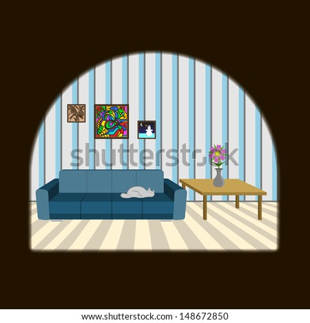 Mouse Looking In Hole - stock vector