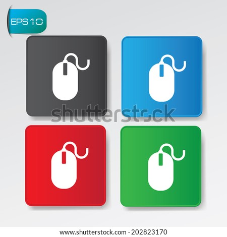 Mouse on buttons,vector - stock vector