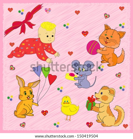 Mouse, Rabbit, Kitten, Puppy and Chicken are greeting a Baby Happy Birthday. Hand drawing greeting card vector illustration - stock vector
