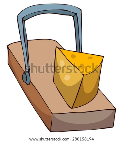Mouse Trap with Cheese, Vector Illustration isolated on White Background. - stock vector