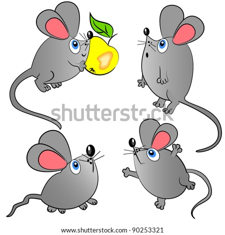 mouse vector set. isolated animals illustration
