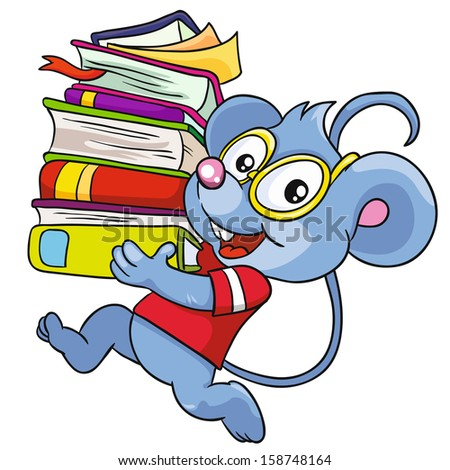 Mouse with books on a white background, vector illustration - stock vector