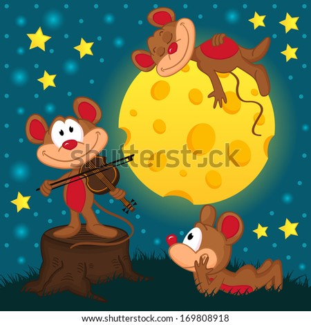 mouse with violin on a stump under the moon - vector illustration - stock vector