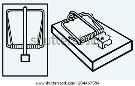 Mousetrap with cheese. Image isolated on blue background - stock vector
