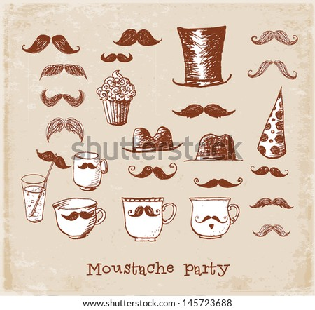 Moustache party objects in vintage style Hand drawn with ink. Cups with moustaches, Sketchy vector illustration.  - stock vector
