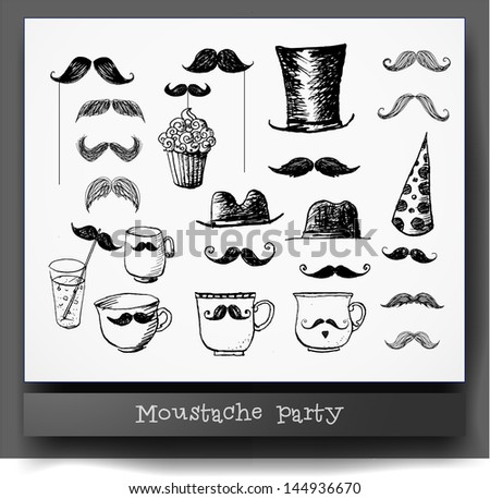 Moustache party objects isolated on white. Hand drawn with ink. Cups with moustaches, Sketchy vector illustration. - stock vector
