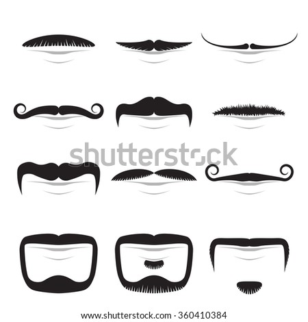 Moustache shapes vector set isolated on white background.