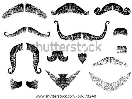 Moustaches isolated on white for design