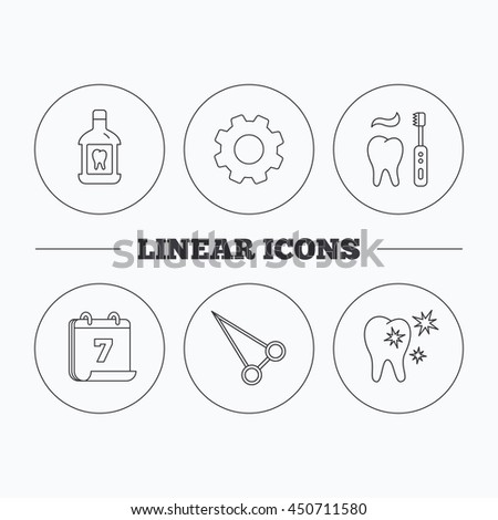 Mouthwash Healthy Teeth And Peans Forceps Icons Brushing Linear Sign Flat Cogwheel
