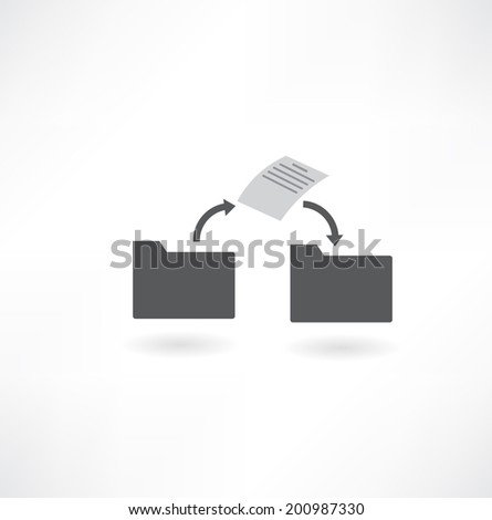 move a file from folder to folder icon - stock vector