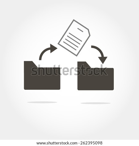 move a file from folder to folder icon, minimum points, clear work, vector illustration - stock vector