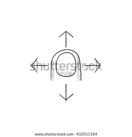 Move touch screen gesture vector sketch icon isolated on background. Hand drawn Move touch screen gesture icon. Move touch screen gesture sketch icon for infographic, website or app. - stock vector