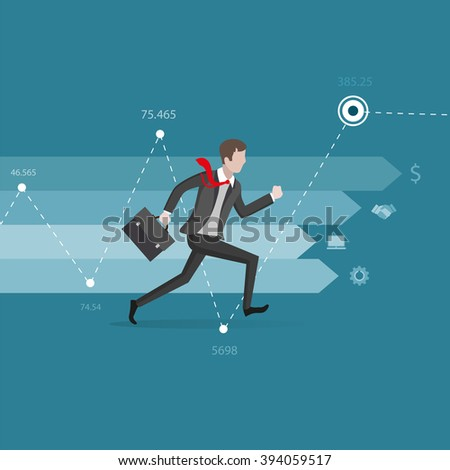 Movement direction to success. Businessman in a hurry in the direction of arrow. Business concept
