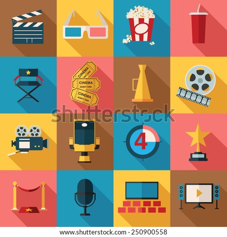 Movie and film icons set. Flat style design. Vector illustration. - stock vector
