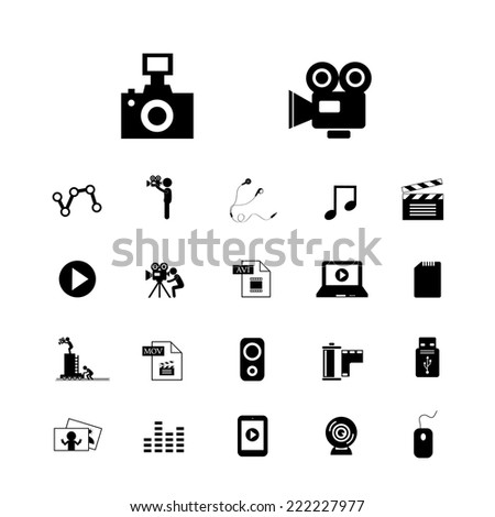movie and media vector icon set