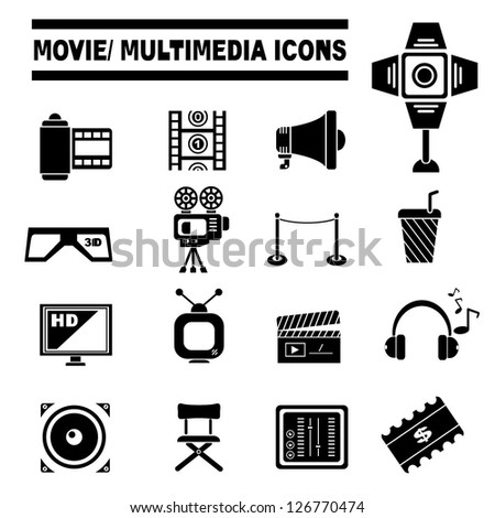 movie and multimedia icon set - stock vector