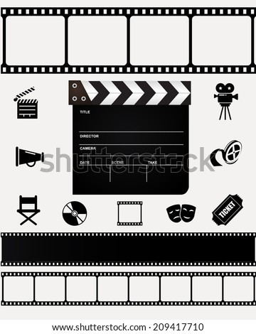 Movie art - collection of icons and designs. VECTOR illustration. - stock vector