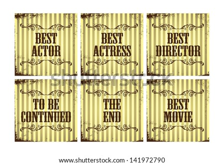 movie award greetings set - stock vector