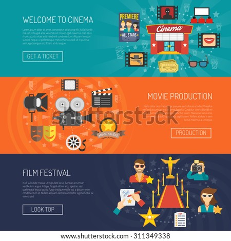 Movie banner horizontal set with film festival flat elements isolated vector illustration - stock vector